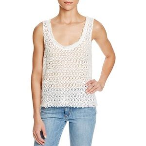 PAIGE Crocheted boho open stitch ivory tank top